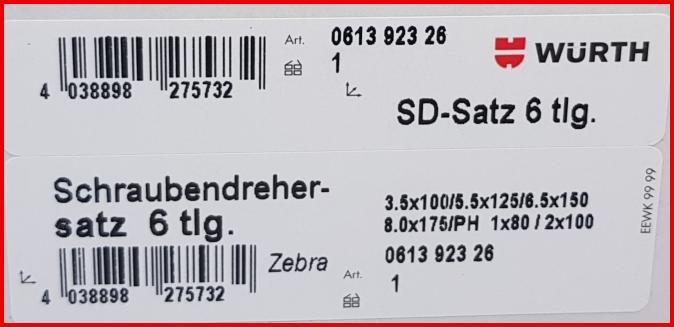 061392326 Würth Schraubendreher Satz Schraubenzieher Set 6 tlg Zebra